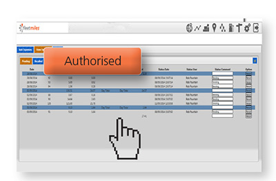 fleetmiles expenses authorisation screen